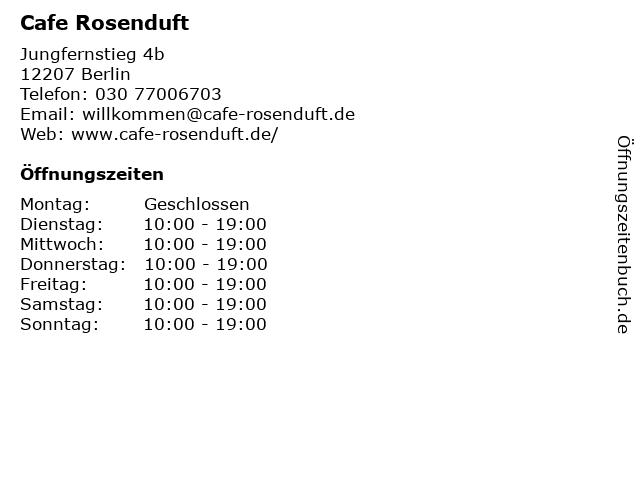 Cafe Rosenduft in Berlin: Adresse und Öffnungszeiten