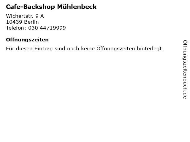 Cafe-Backshop Mühlenbeck in Berlin: Adresse und Öffnungszeiten