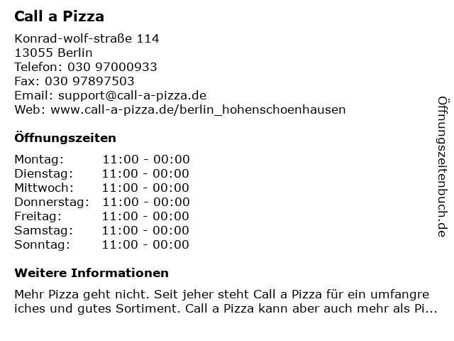 Call a Pizza in Berlin: Adresse und Öffnungszeiten