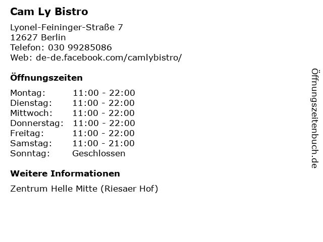 Cam Ly Bistro in Berlin: Adresse und Öffnungszeiten