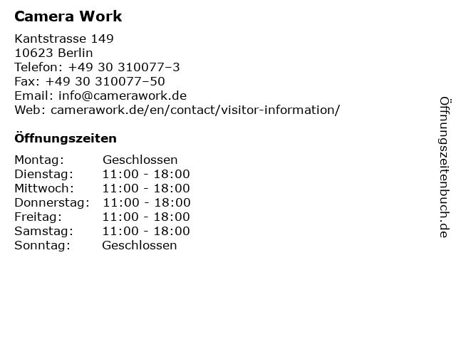 Camera Work in Berlin: Adresse und Öffnungszeiten