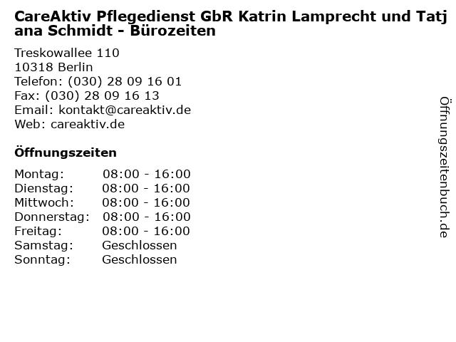 CareAktiv Pflegedienst GbR Katrin Lamprecht und Tatjana Schmidt - Bürozeiten in Berlin: Adresse und Öffnungszeiten
