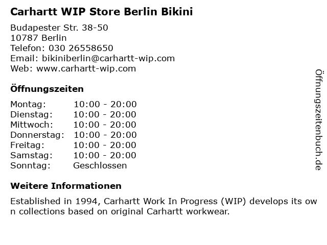 Carhartt in Berlin: Adresse und Öffnungszeiten