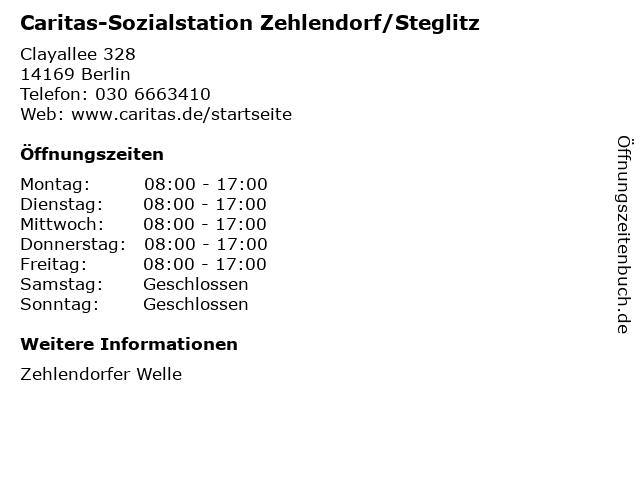 Caritas-Sozialstation Zehlendorf/Steglitz in Berlin: Adresse und Öffnungszeiten