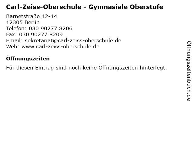 Carl-Zeiss-Oberschule - Gymnasiale Oberstufe in Berlin: Adresse und Öffnungszeiten