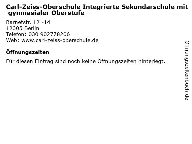 Carl-Zeiss-Oberschule Integrierte Sekundarschule mit gymnasialer Oberstufe in Berlin: Adresse und Öffnungszeiten