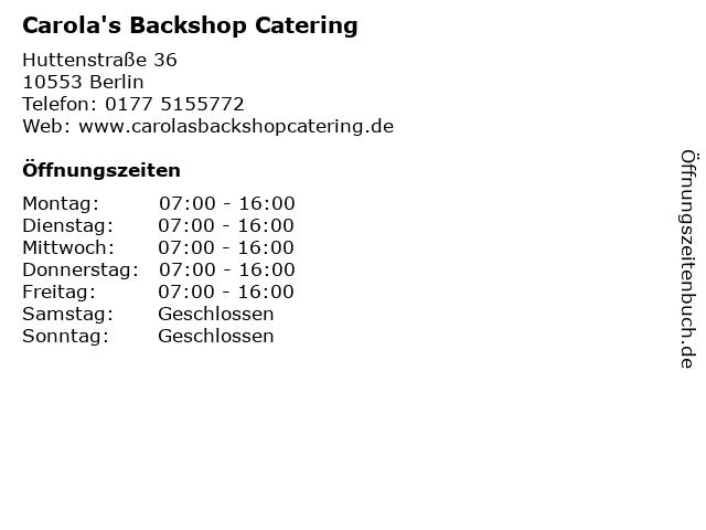 Carola's Backshop Catering in Berlin: Adresse und Öffnungszeiten