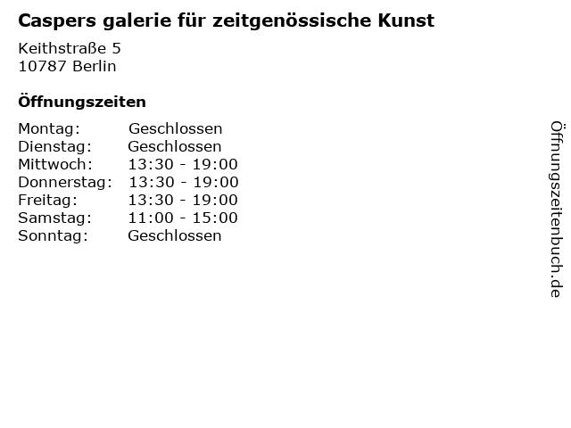 Caspers galerie für zeitgenössische Kunst in Berlin: Adresse und Öffnungszeiten