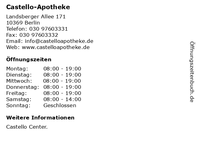 Castello-Apotheke in Berlin: Adresse und Öffnungszeiten