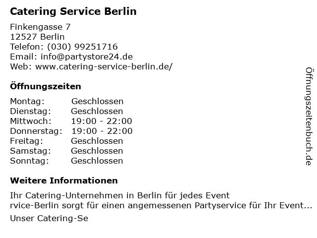 Catering Service Berlin in Berlin: Adresse und Öffnungszeiten