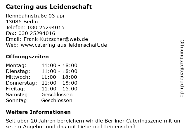 Catering Aus Leidenschaft in Berlin: Adresse und Öffnungszeiten