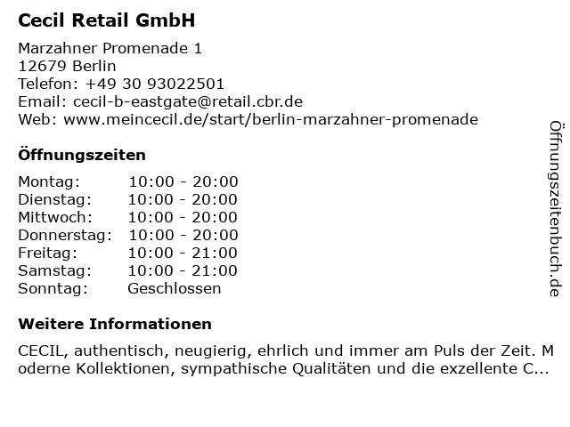 Cecil Retail GmbH in Berlin: Adresse und Öffnungszeiten