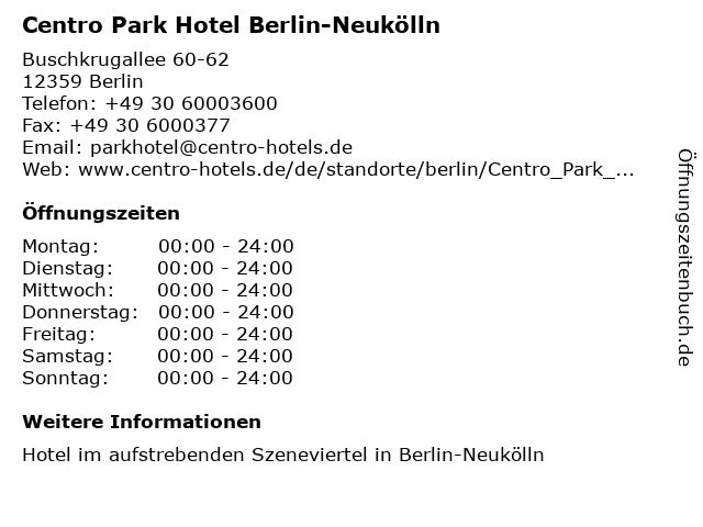 ᐅ Offnungszeiten Centro Park Hotel Berlin Neukolln
