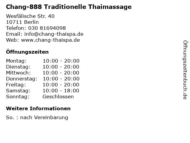Chang-888 Traditionelle Thaimassage in Berlin: Adresse und Öffnungszeiten