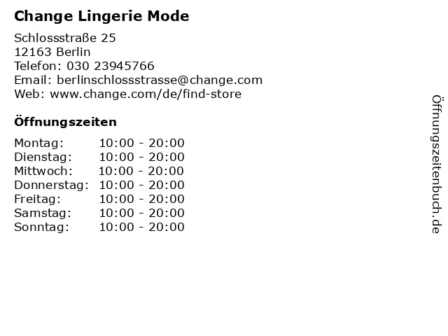 Change Lingerie Mode in Berlin: Adresse und Öffnungszeiten