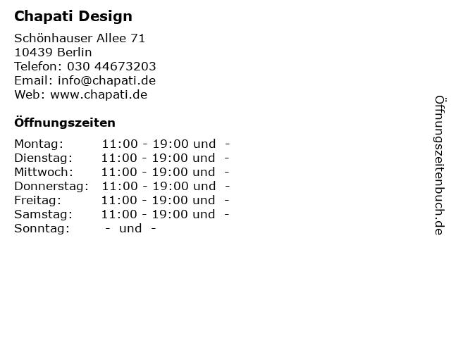 Chapati Design in Berlin: Adresse und Öffnungszeiten