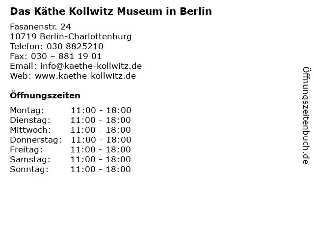 Das Käthe Kollwitz Museum in Berlin in Berlin-Charlottenburg: Adresse und Öffnungszeiten
