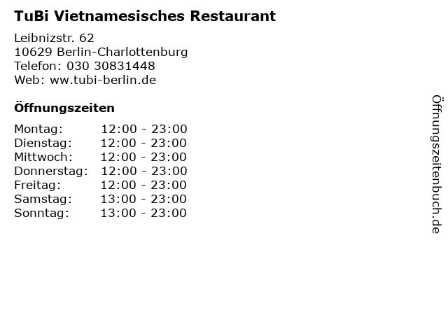 TuBi Vietnamesisches Restaurant in Berlin-Charlottenburg: Adresse und Öffnungszeiten