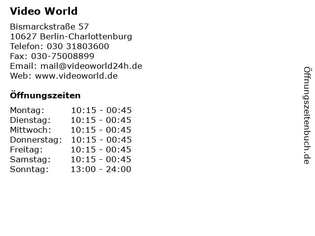Video World in Berlin-Charlottenburg: Adresse und Öffnungszeiten