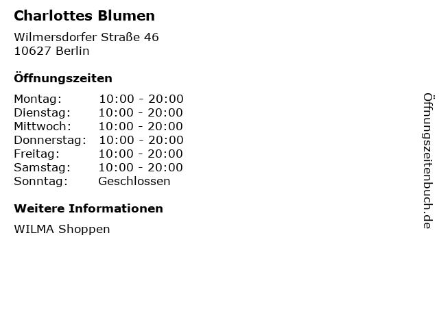 Charlottes Blumen in Berlin: Adresse und Öffnungszeiten