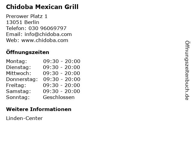 Chidoba Mexican Grill in Berlin: Adresse und Öffnungszeiten