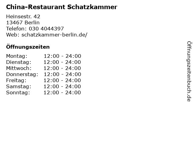 China-Restaurant Schatzkammer in Berlin: Adresse und Öffnungszeiten