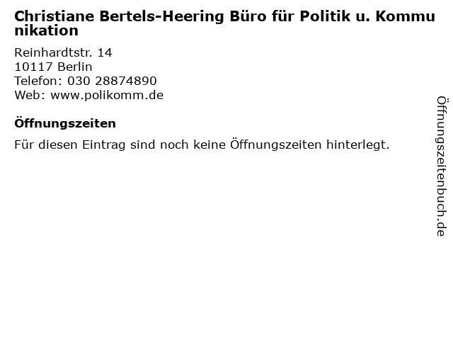 Christiane Bertels-Heering Büro für Politik u. Kommunikation in Berlin: Adresse und Öffnungszeiten