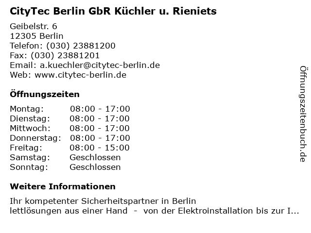 CityTec Berlin GbR Küchler u. Rieniets in Berlin: Adresse und Öffnungszeiten