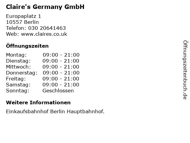 Claire's Germany GmbH in Berlin: Adresse und Öffnungszeiten