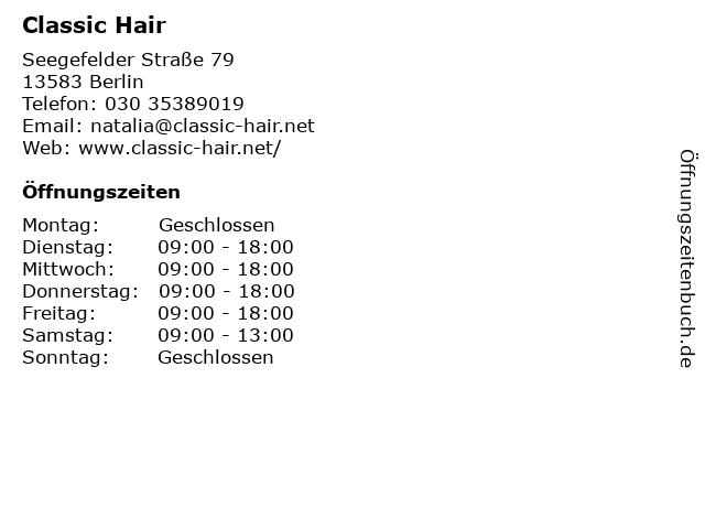 Classic Hair in Berlin: Adresse und Öffnungszeiten