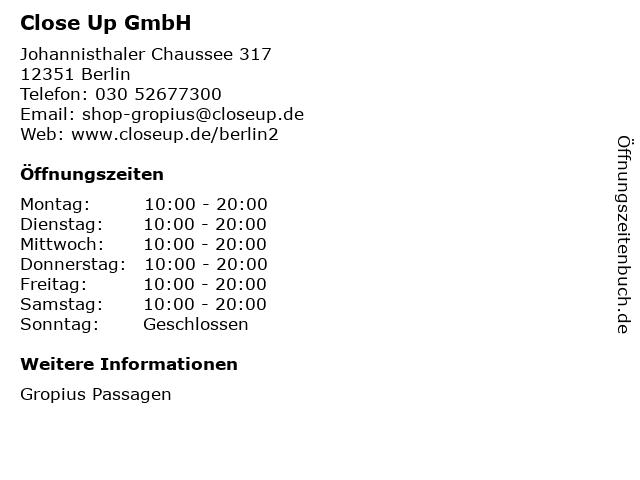 Close Up GmbH in Berlin: Adresse und Öffnungszeiten