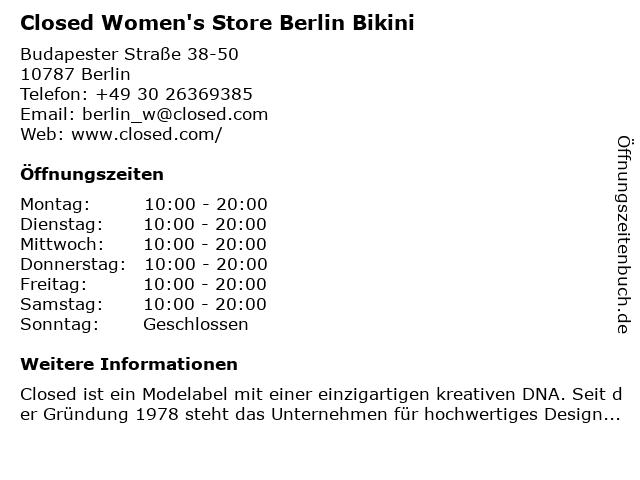 CLOSED GmbH in Berlin: Adresse und Öffnungszeiten