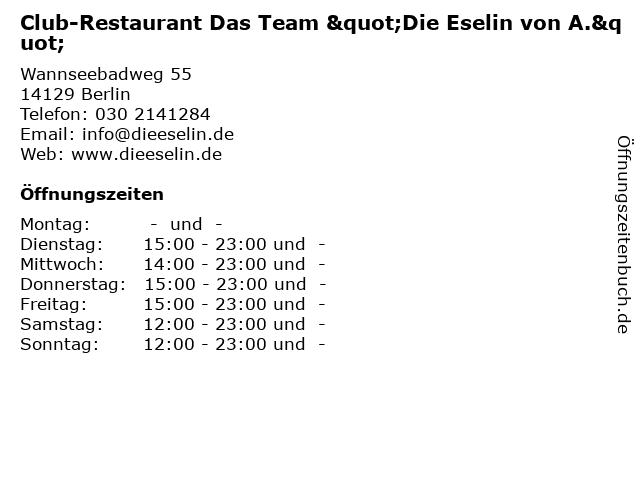 """Club-Restaurant Das Team """"Die Eselin von A."""" in Berlin: Adresse und Öffnungszeiten"""