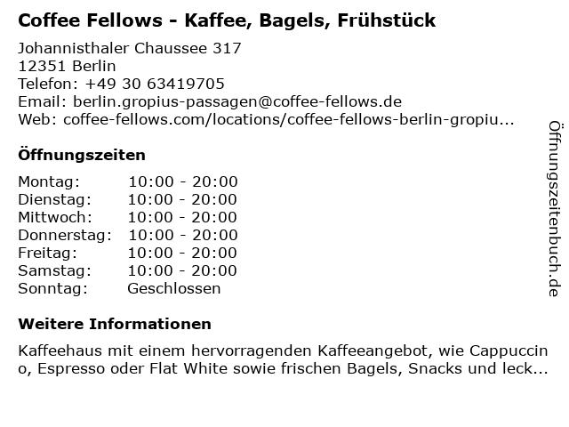 Coffee Fellows GmbH in Berlin: Adresse und Öffnungszeiten
