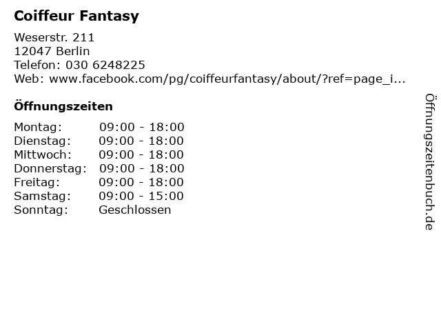 Coiffeur Fantasy in Berlin: Adresse und Öffnungszeiten