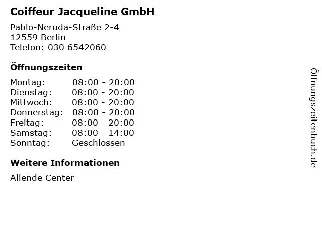 Coiffeur Jacqueline GmbH in Berlin: Adresse und Öffnungszeiten