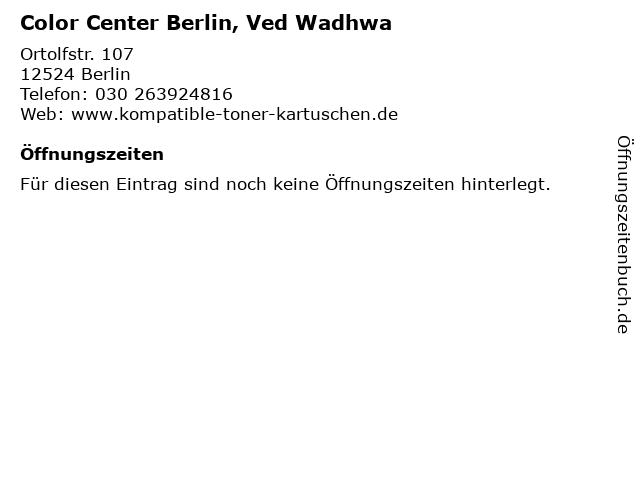 Color Center Berlin, Ved Wadhwa in Berlin: Adresse und Öffnungszeiten