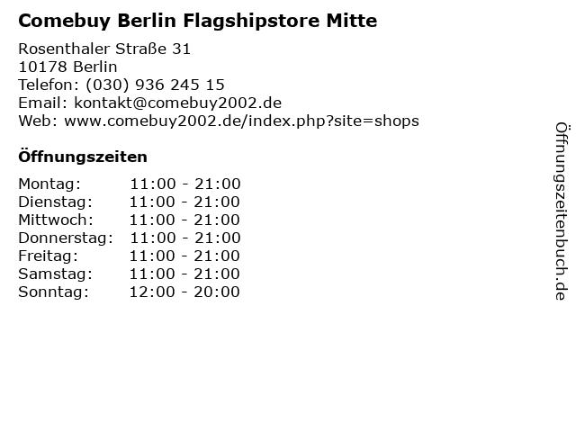 Comebuy Berlin Flagshipstore Mitte in Berlin: Adresse und Öffnungszeiten