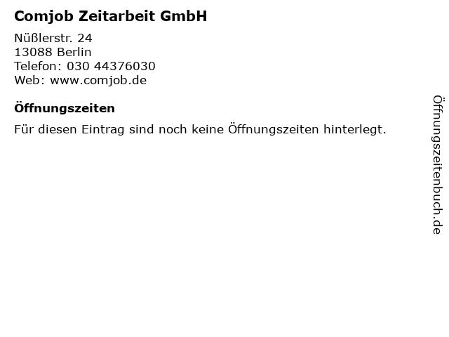 Comjob Zeitarbeit GmbH in Berlin: Adresse und Öffnungszeiten