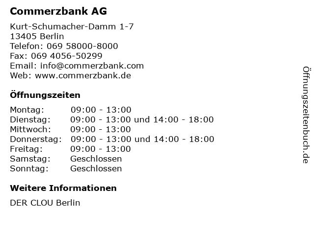 Commerzbank AG in Berlin: Adresse und Öffnungszeiten