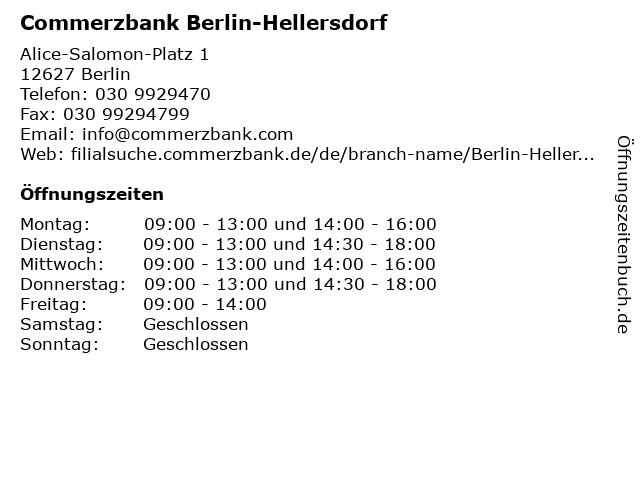 Commerzbank Berlin-Hellersdorf in Berlin: Adresse und Öffnungszeiten