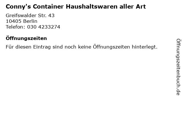 Conny's Container Haushaltswaren aller Art in Berlin: Adresse und Öffnungszeiten