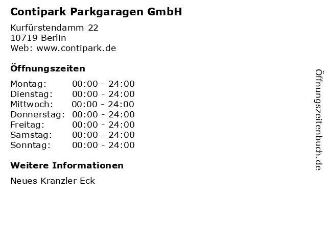 Contipark Parkgaragen GmbH in Berlin: Adresse und Öffnungszeiten