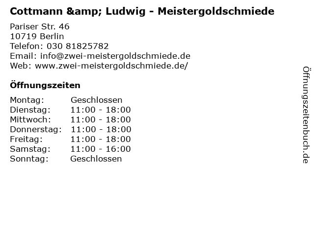 Cottmann & Ludwig - Meistergoldschmiede in Berlin: Adresse und Öffnungszeiten
