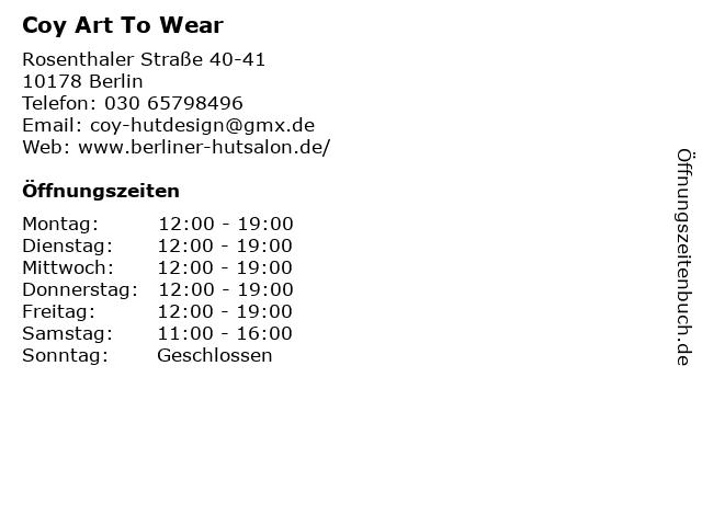 Coy Art To Wear in Berlin: Adresse und Öffnungszeiten