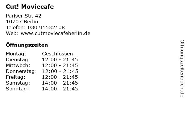 Cut! Moviecafe in Berlin: Adresse und Öffnungszeiten