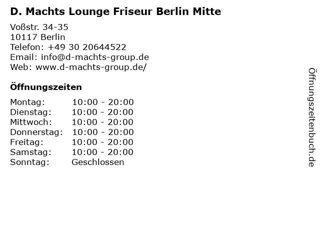 D. Machts Lounge - Mall of Berlin in Berlin: Adresse und Öffnungszeiten
