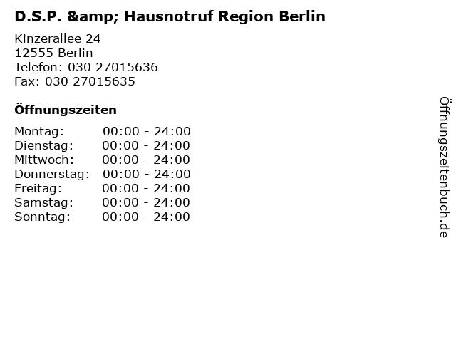 D.S.P. & Hausnotruf Region Berlin in Berlin: Adresse und Öffnungszeiten