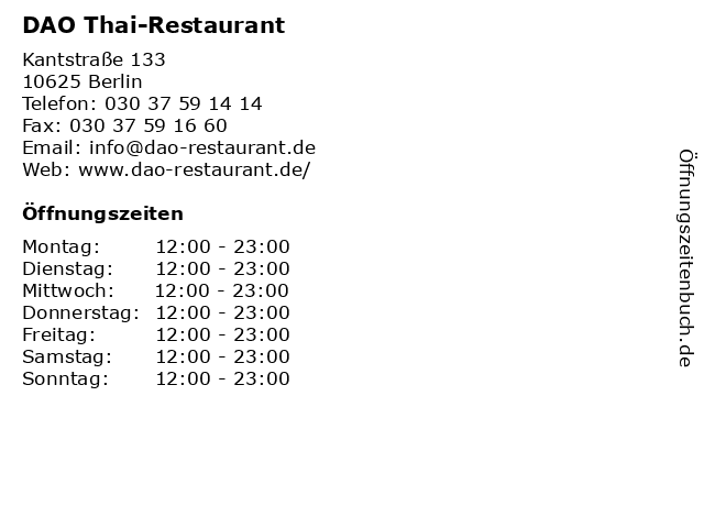 DAO Thai-Restaurant in Berlin: Adresse und Öffnungszeiten