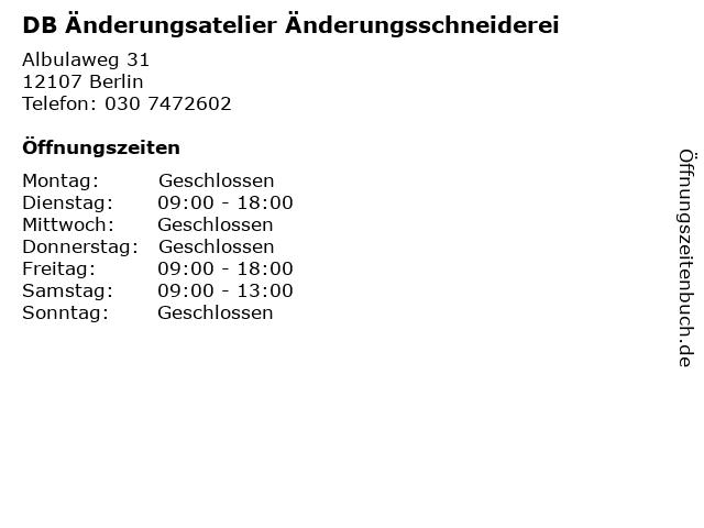 DB Änderungsatelier Änderungsschneiderei in Berlin: Adresse und Öffnungszeiten